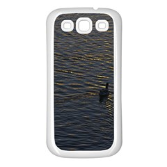 Lonely Duck Swimming At Lake At Sunset Time Samsung Galaxy S3 Back Case (white) by dflcprints