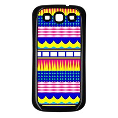Rectangles Waves And Circles			samsung Galaxy S3 Back Case (black) by LalyLauraFLM