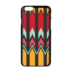 Waves And Other Shapes Pattern			apple Iphone 6/6s Black Enamel Case by LalyLauraFLM