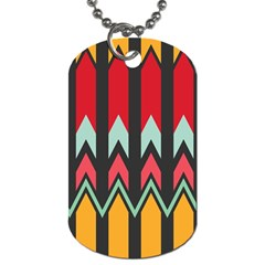 Waves And Other Shapes Pattern			dog Tag (one Side) by LalyLauraFLM