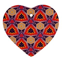 Triangles Honeycombs And Other Shapes Pattern			ornament (heart) by LalyLauraFLM