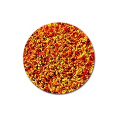 Orange Yellow  Saw Chips Magnet 3  (round) by Costasonlineshop