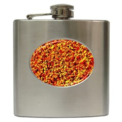 Orange Yellow  Saw Chips Hip Flask (6 Oz) by Costasonlineshop