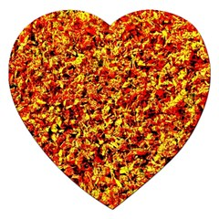 Orange Yellow  Saw Chips Jigsaw Puzzle (heart) by Costasonlineshop
