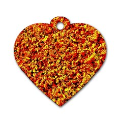 Orange Yellow  Saw Chips Dog Tag Heart (one Side) by Costasonlineshop