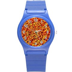 Orange Yellow  Saw Chips Round Plastic Sport Watch (s) by Costasonlineshop