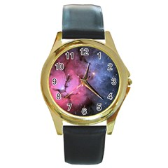 Trifid Nebula Round Gold Metal Watches