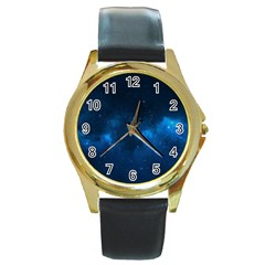 Starry Space Round Gold Metal Watches by trendistuff