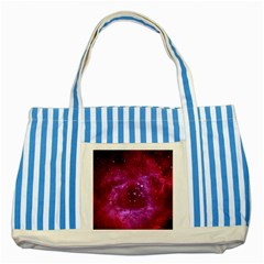 Rosette Nebula 1 Striped Blue Tote Bag  by trendistuff