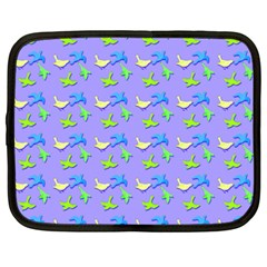 Blue And Green Birds Pattern Netbook Case (large)