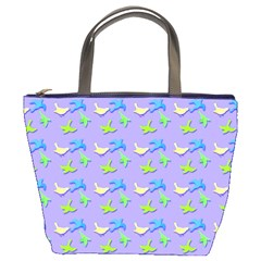 Blue And Green Birds Pattern Bucket Bags by LovelyDesigns4U