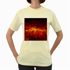 Milky Way Clouds Women s Yellow T Shirt by trendistuff