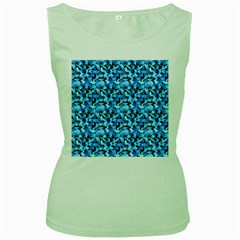 Turquoise Blue Abstract Flower Pattern Women s Green Tank Tops by Costasonlineshop
