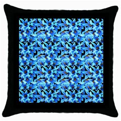 Turquoise Blue Abstract Flower Pattern Throw Pillow Cases (black) by Costasonlineshop