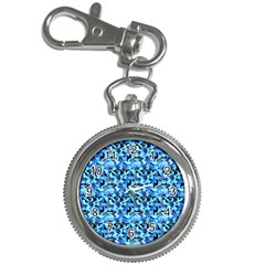 Turquoise Blue Abstract Flower Pattern Key Chain Watches by Costasonlineshop
