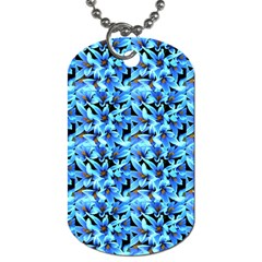Turquoise Blue Abstract Flower Pattern Dog Tag (one Side) by Costasonlineshop