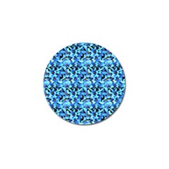 Turquoise Blue Abstract Flower Pattern Golf Ball Marker (4 Pack) by Costasonlineshop