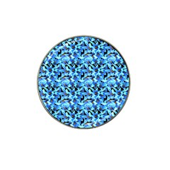 Turquoise Blue Abstract Flower Pattern Hat Clip Ball Marker (4 Pack) by Costasonlineshop