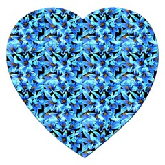 Turquoise Blue Abstract Flower Pattern Jigsaw Puzzle (heart) by Costasonlineshop