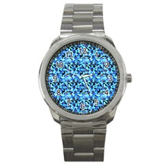 Turquoise Blue Abstract Flower Pattern Sport Metal Watches by Costasonlineshop