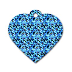 Turquoise Blue Abstract Flower Pattern Dog Tag Heart (two Sides) by Costasonlineshop