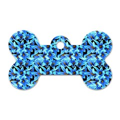 Turquoise Blue Abstract Flower Pattern Dog Tag Bone (two Sides) by Costasonlineshop
