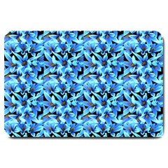 Turquoise Blue Abstract Flower Pattern Large Doormat  by Costasonlineshop
