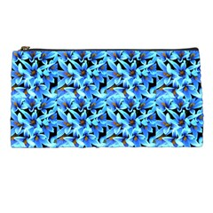Turquoise Blue Abstract Flower Pattern Pencil Cases by Costasonlineshop