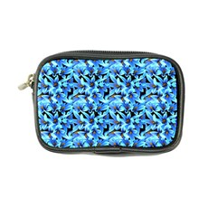 Turquoise Blue Abstract Flower Pattern Coin Purse by Costasonlineshop