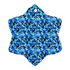 Turquoise Blue Abstract Flower Pattern Ornament (snowflake)  by Costasonlineshop