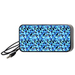 Turquoise Blue Abstract Flower Pattern Portable Speaker (black)  by Costasonlineshop