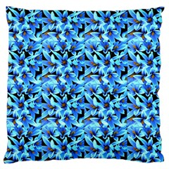 Turquoise Blue Abstract Flower Pattern Large Cushion Cases (two Sides)  by Costasonlineshop