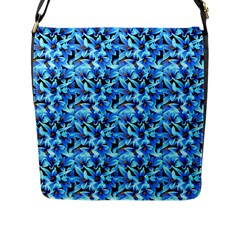 Turquoise Blue Abstract Flower Pattern Flap Messenger Bag (l)  by Costasonlineshop