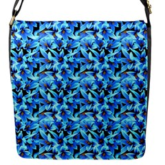 Turquoise Blue Abstract Flower Pattern Flap Messenger Bag (s) by Costasonlineshop