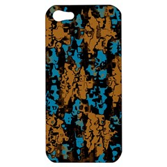 Blue Brown Texture			apple Iphone 5 Hardshell Case by LalyLauraFLM