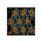 Blue brown texture Satin Bandana Scarf Front
