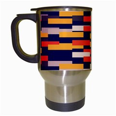 Rectangles In Retro Colors Travel Mug (white) by LalyLauraFLM