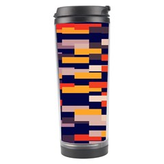 Rectangles In Retro Colors Travel Tumbler by LalyLauraFLM