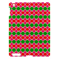 Red Pink Green Rhombus Pattern			apple Ipad 3/4 Hardshell Case by LalyLauraFLM