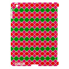 Red Pink Green Rhombus Pattern			apple Ipad 3/4 Hardshell Case (compatible With Smart Cover) by LalyLauraFLM