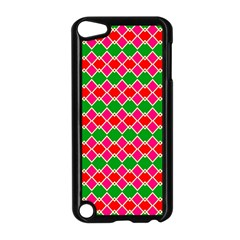 Red Pink Green Rhombus Pattern			apple Ipod Touch 5 Case (black) by LalyLauraFLM