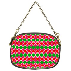 Red Pink Green Rhombus Pattern 	chain Purse (two Sides) by LalyLauraFLM