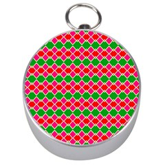 Red Pink Green Rhombus Pattern Silver Compass by LalyLauraFLM