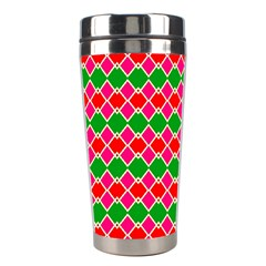 Red Pink Green Rhombus Pattern Stainless Steel Travel Tumbler by LalyLauraFLM