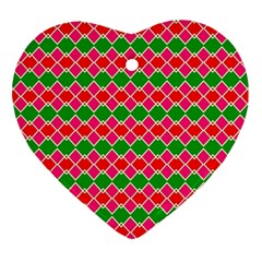 Red Pink Green Rhombus Pattern			ornament (heart) by LalyLauraFLM