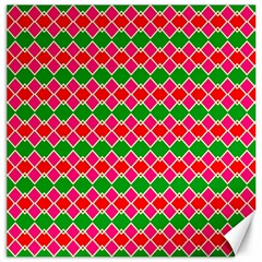 Red Pink Green Rhombus Pattern			canvas 20  X 20  by LalyLauraFLM