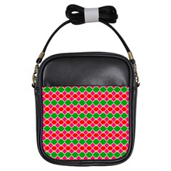 Red Pink Green Rhombus Pattern			girls Sling Bag by LalyLauraFLM