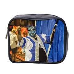 Painted Face Man At Inagural Parade Of Carnival In Montevideo Mini Toiletries Bag 2-side by dflcprints