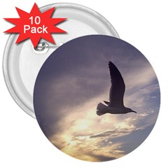 Fly Seagull 3  Buttons (10 Pack)  by Jamboo