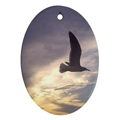 Fly Seagull Oval Ornament (two Sides)